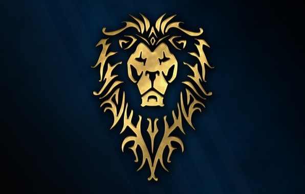 Картинка cinema, golden, logo, game, Warcraft, blue, wow, lion, symbol, rpg, movie, animal, World of WarCraft, …