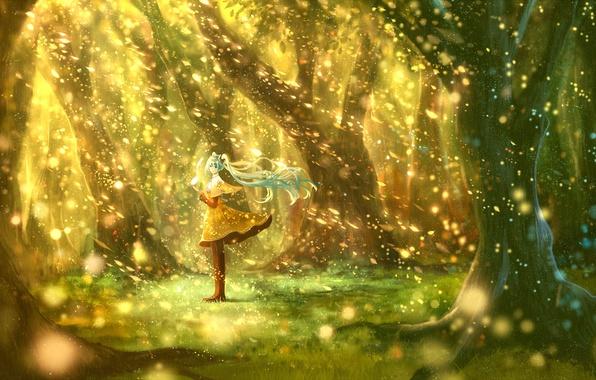 Картинка девушка, деревья, природа, аниме, арт, нота, vocaloid, hatsune miku, bou nin