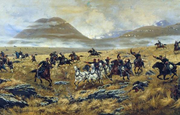 Картинка война, художник, солдаты, битва, турки, русские, Кившенко, казаки, русско-турецкая война