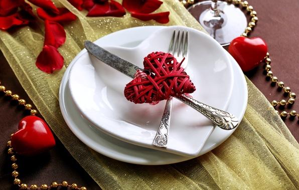 Картинка любовь, романтика, сердце, лепестки, тарелка, love, heart, romantic, Valentine's Day, сервировка