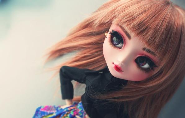 Картинка глаза, лицо, кукла, большие, челка