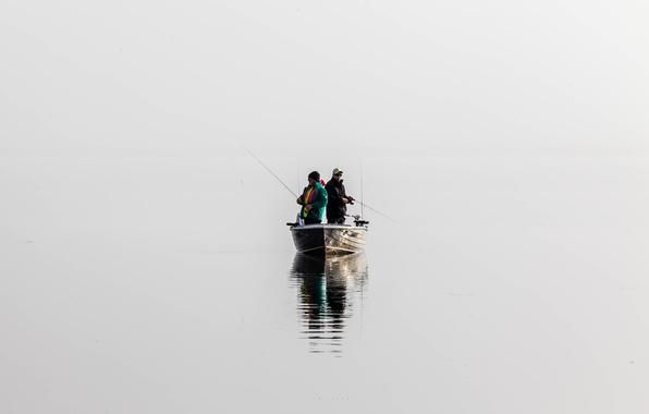 Картинка река, лодка, рыбаки