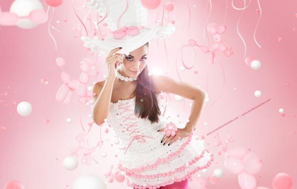 Картинка девушка, розовая, шляпка
