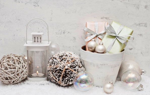 Картинка снег, украшения, шары, Новый Год, Рождество, подарки, Christmas, balls, New Year, decoration