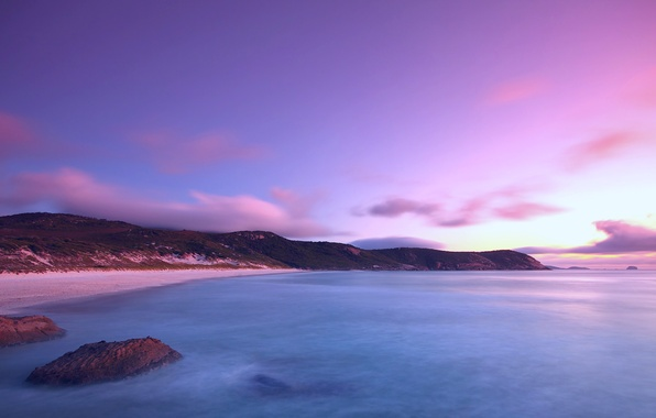 Картинка море, пляж, небо, вода, облака, гладь, океан, сиреневый, берег, Вечер, вечер
