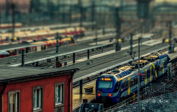 Картинка поезд, Германия, tilt shift, Munchen, Railway station