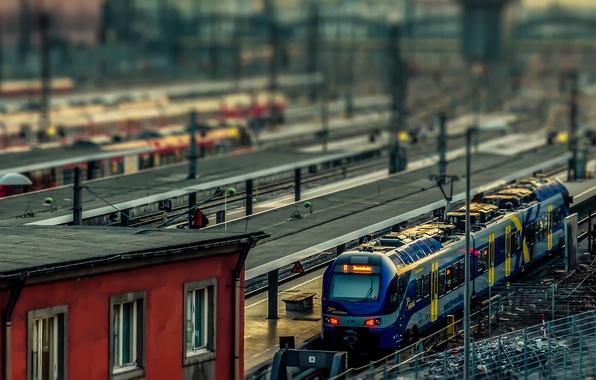 Картинка поезд, Германия, tilt shift, Munchen, Railway station