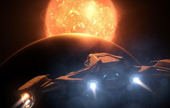 Картинка солнце, космос, звезды, планета, космический корабль