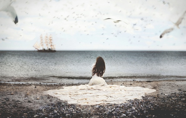Картинка море, вода, девушка, птицы, корабль, чайки, платье