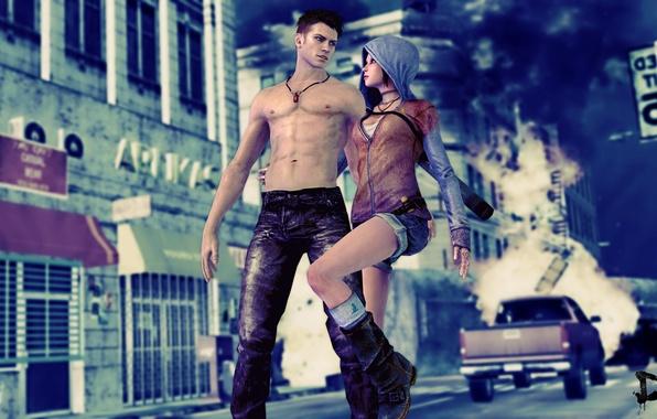Картинка машина, взгляд, шорты, джинсы, разрушения, капюшон, Dante, DmC, Devil May Cry 5, Kat, игра. город