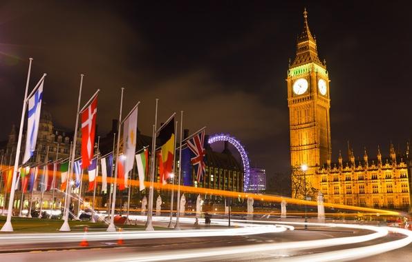 Картинка дорога, свет, ночь, огни, Англия, Лондон, Великобритания, Биг-Бен, флаги, London, England, Big Ben