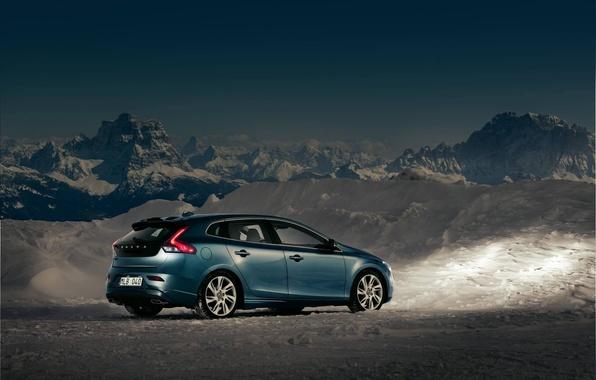 Картинка Небо, Горы, Volvo, Снег, Сумерки, Cars, V40