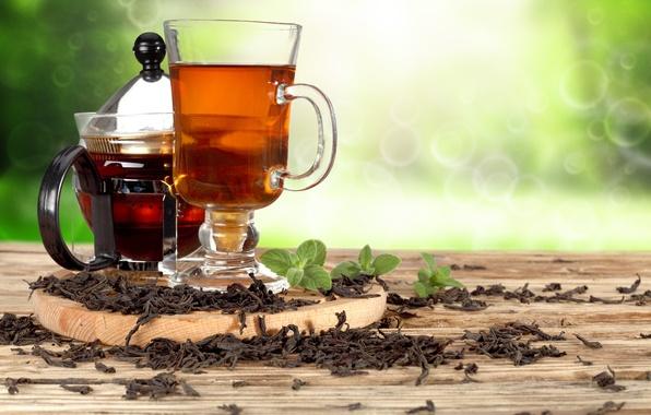Картинка чай, чайник, кружка, напиток, мята, боке