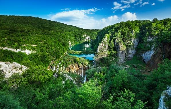 Картинка лес, пейзаж, скалы, панорама, водопады, каскад, Хорватия, Croatia, Национальный парк, Плитвицкие озера, Plitvice Lakes National …