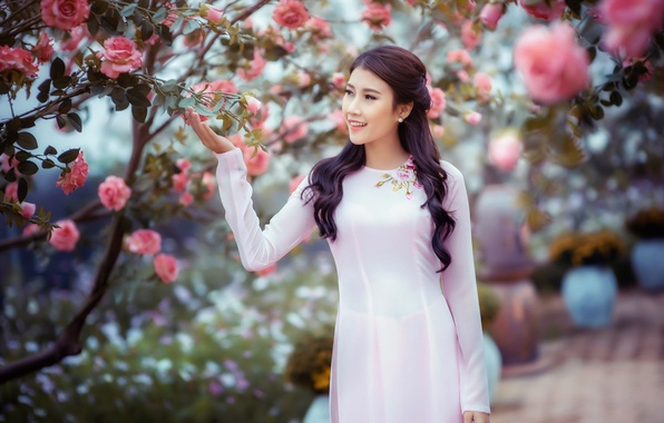 Картинка девушка, сад, азиатка