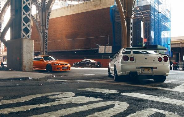 Картинка Ниссан, Orange, Nissan, GT-R, Car, Black, White, Skyline, R34, Скайлайн, R33, V-Spec