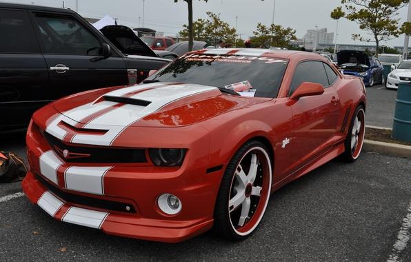Картинка красный, custom, Шевроле Камаро, Chevrolet Camaro, тюнинг.