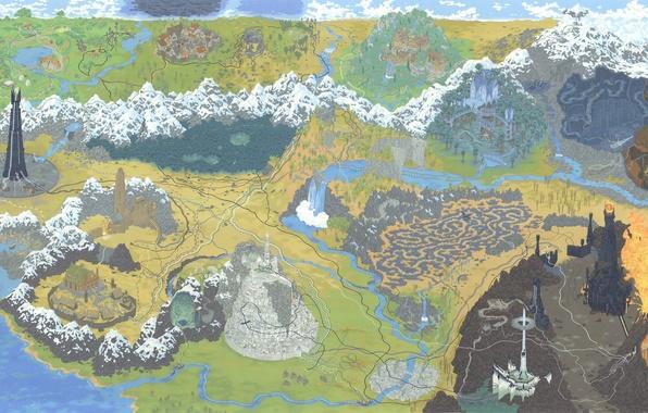 Картинка Рисунок, Карта, Властелин колец, Арт, The Lord of the Rings, Средиземье, LOTR