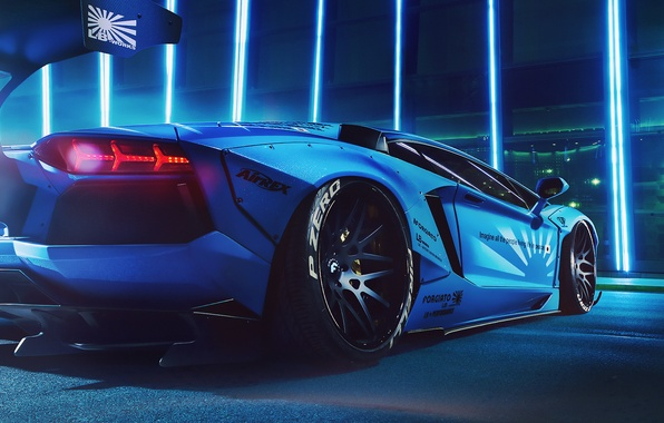 Картинка lights, Lamborghini, Blue, LP700-4, Aventador, Liberty Walk