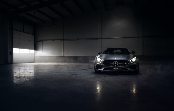 Картинка Mercedes-Benz, Front, AMG, Color, Smoke, Silver, Engine, Angar