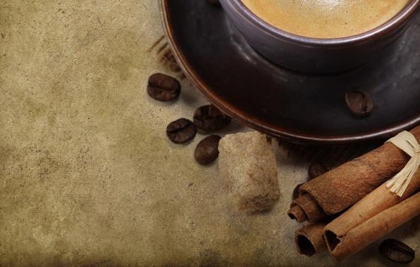 Картинка фон, кофе, зерна, кружка, чашка, сахар, корица, блюдце