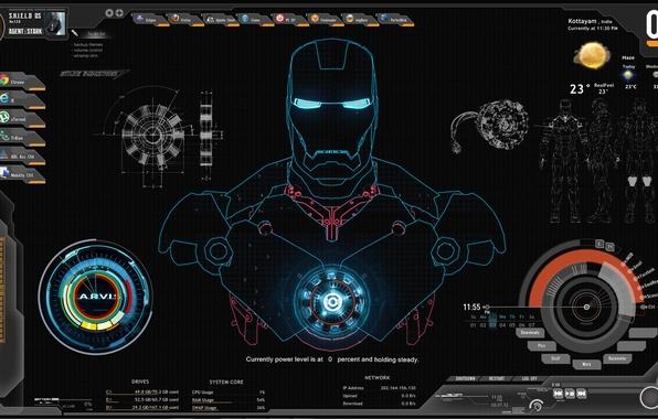Картинка компьютер, Iron Man, shield, Железный Человек
