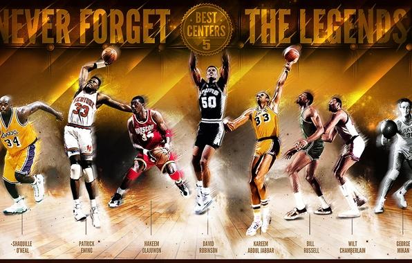 Картинка Спорт, Баскетбол, NBA, Shaquille O'Neal, Легенды, Kareem Abdul Jabbar, George Mikan, Wilt Chamberlain, Patrick Ewing, …