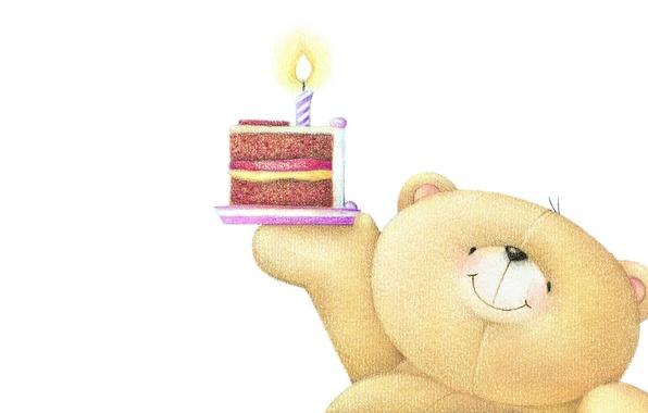 Картинка настроение, праздник, свеча, арт, мишка, тортик, детская, День рождения, Forever Friends Deckchair bear