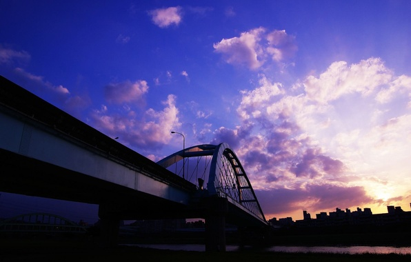 Картинка облака, закат, мост, дома