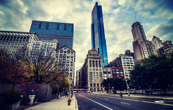 Картинка небо, люди, улица, здания, небоскребы, Чикаго, Chicago