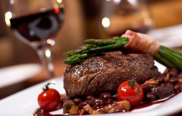 Картинка вино, еда, мясо, барбекю, блюдо