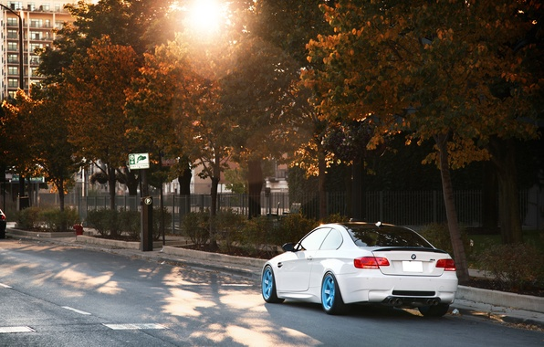 Картинка белый, бмв, BMW, white, блик, E92, IND, осень. солнце