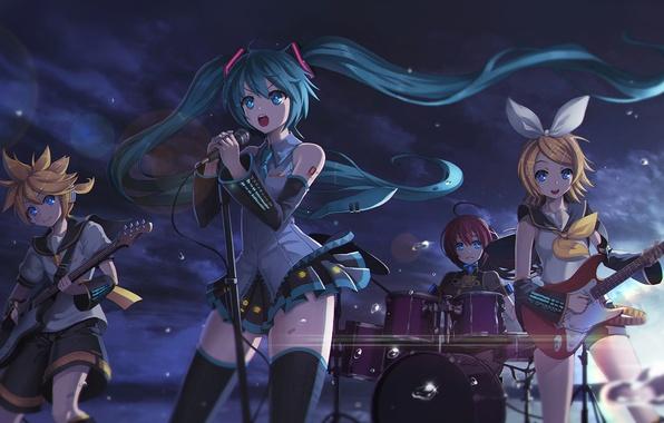 Картинка небо, облака, капли, закат, девушки, гитара, группа, аниме, арт, микрофон, парень, vocaloid, hatsune miku, megurine …