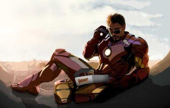 Картинка Robert Downey Jr, iron man, fan art, tony stark