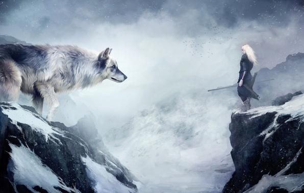 Картинка снег, горы, волк, Девушка