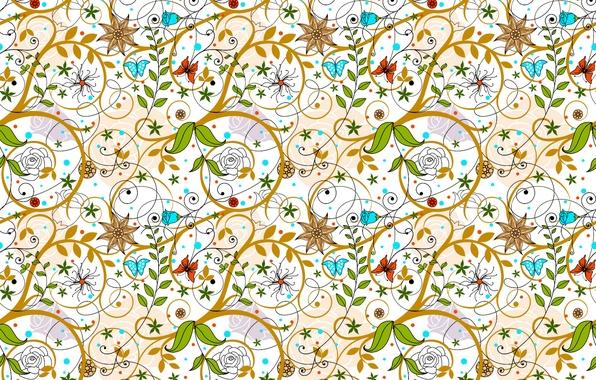 Картинка линии, бабочки, цветы, ветки, абстракция, узор