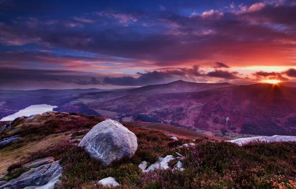 Картинка трава, солнце, облака, пейзаж, закат, цветы, горы, камни, вид, вершина, Ирландия