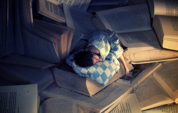 Картинка девушка, фон, обои, книги, сон, ситуация, wallpapers