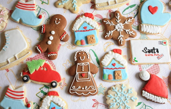 Картинка машина, письмо, праздник, шапка, елка, новый год, печенье, человечек, домик, фигурки, снежинка, печенько, марципан
