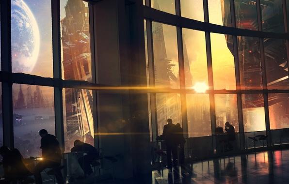Картинка закат, город, будущее, люди, вид, окна, планета, арт, мегаполис