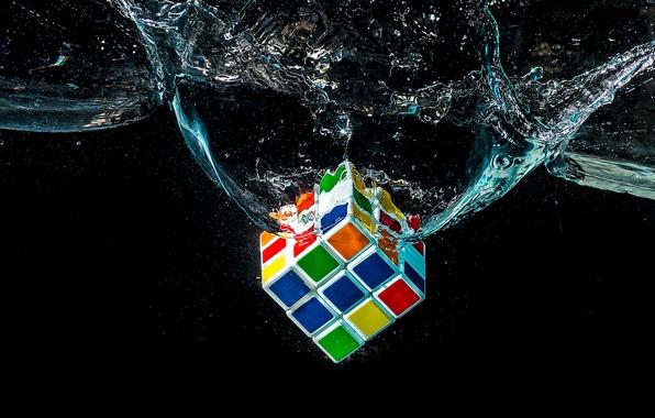 Картинка вода, макро, кубик Рубика, головоломка