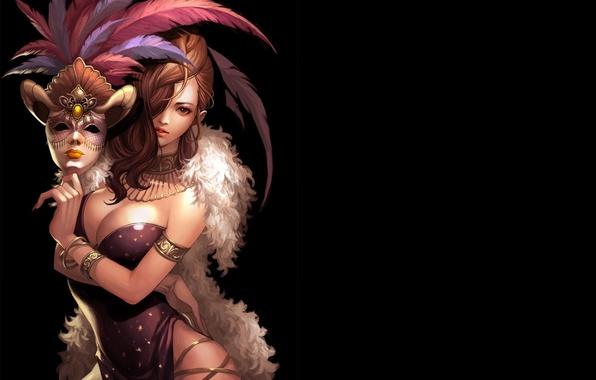 Картинка девушка, темный фон, перья, маска, арт, мех, sigmul