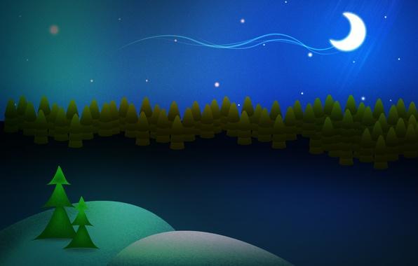 Картинка зима, ночь, звёзды, месяц, сугробы, ёлки