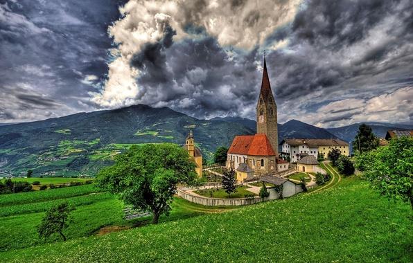 Картинка деревья, горы, Альпы, Италия, панорама, Italy, Alps, Брессаноне, Церковь Сан-Микеле, Бриксен, Brixen, Saint Michael Church, …