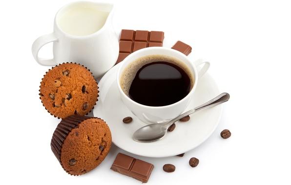 Картинка кофе, шоколад, зерна, завтрак, молоко, ложка, чашка, сладости, десерт, выпечка, кексы