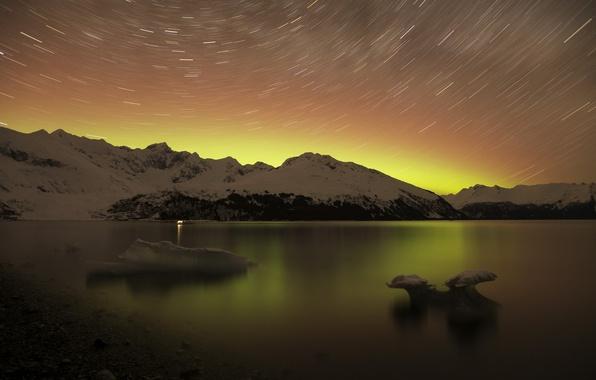 Картинка пейзаж, горы, ночь, природа, озеро, звёзды