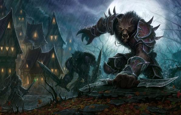Картинка ночь, оружие, фантастика, дома, фэнтези, волки, воины, World-of-Warcraft