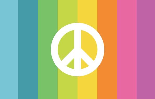 Картинка цвета, полосы, знак, радуга, символ, пацифизм, пацифик