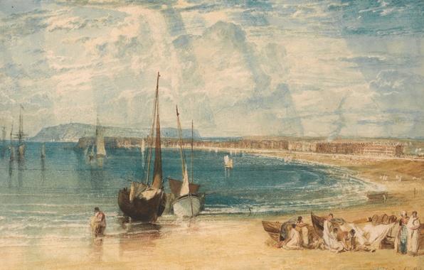 Картинка море, пейзаж, люди, берег, картина, лодки, акварель, парус, Уильям Тёрнер, Weymouth