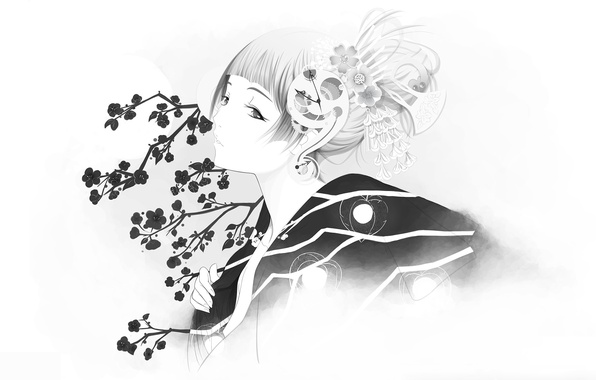 Картинка девушка, сакура, кимоно